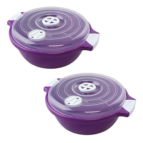 Lantelme 2 Stück Set Mikrowellenschüssel mit Deckel 1,8 Liter, Spülmaschinenfest, Kunststoff Farbe violett / weiß / transparent 4524