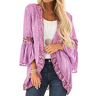 Lazzboy Womens Cardigan 3/4 Long Flare Sleeve Lace Hollow Out Linen Kimono Loose Tunic Tops Beachwear(XL(14),Purple)
