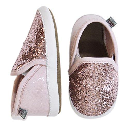 Melton Glitter Girl Baby Mädchen Krabbelschuhe Pink (Wild Rose 509)