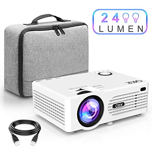 Projecteur QKK 2400 Lumen, Mini Projecteur avec Étui Portable, Prend en Charge 1080P Full HD, Compatible avec Fire TV Stick, PS4, Xbox, Chromecast, HDMI, VGA, SD, USB, Blanc.