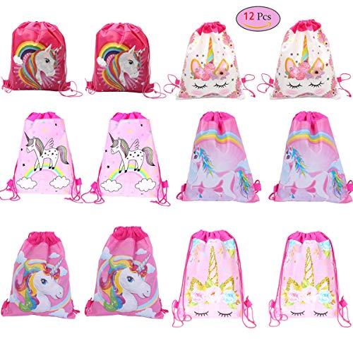 Clerfy Acc 12 Piezas Unicornio Bolsa Regalo Bolsa de Cuerdas Unicornio Bolsa con cordón Mochila Bolsa Dulces Gimnasio Backpack para Infantil Niñas Fiesta Cumpleaños Party