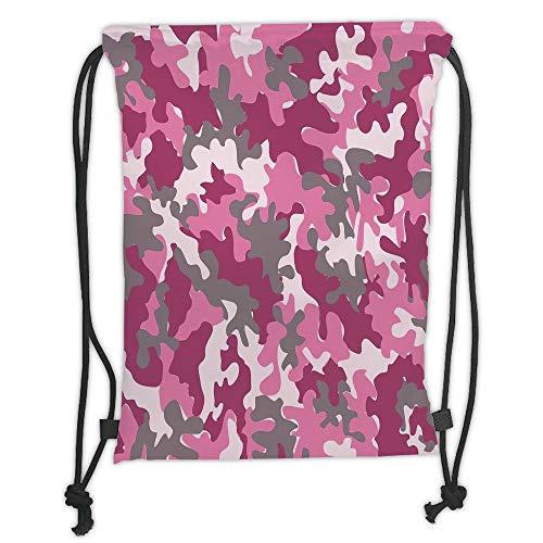 ck Backpacks Bags,Camo,Cute Sweet Pattern in Pink Tones Feminine Design Girlish Vibrant Artistic,Magenta Hot Pink Grey Soft Satin,5 Liter Capacity,Adjustable String Closure ()