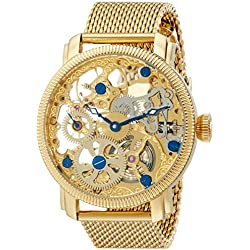 Akribos XXIV Men's Mechanical Watch with Gold Dial Analogue Display and Gold Stainless Steel Bracelet AK526YG