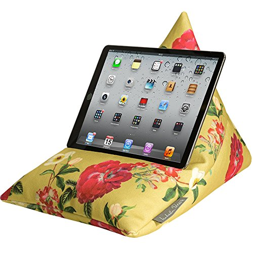 designer-ipad-tablet-ereader-phone-bean-bag-cushion-stand-mustard-floral-glade-soft-to-touch-velvet-