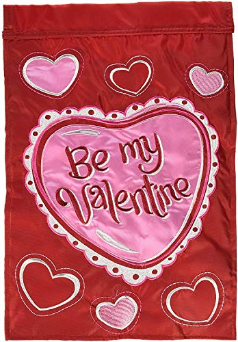 CHKWYN Home Accents Double Applique Garden Flag, Be My Valentine for Party Outdoor Home Decor Size: 12.5-inches W X 18-inches H Side Drape Applique