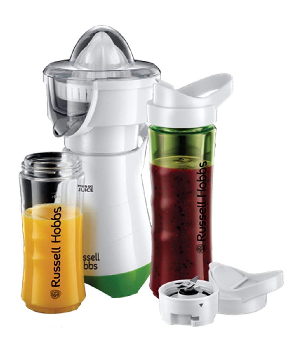 Russell Hobbs Mix & Go – Batidora de Vaso Individual, 300 W, Batidora Smoothies, Sin BPA, Blanco y Verde, 1 Vaso de 600 ml, 1 Vaso de 400 ml