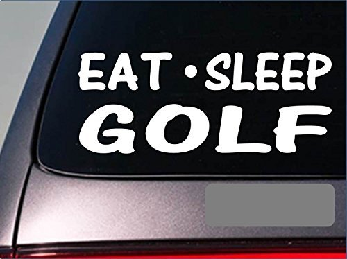 "Tollyee Car Decals and Stickers Eat Sleep Golf Sticker *G897* 8"" Vinyl Putter Driver Golf Ball Slice Wedge"