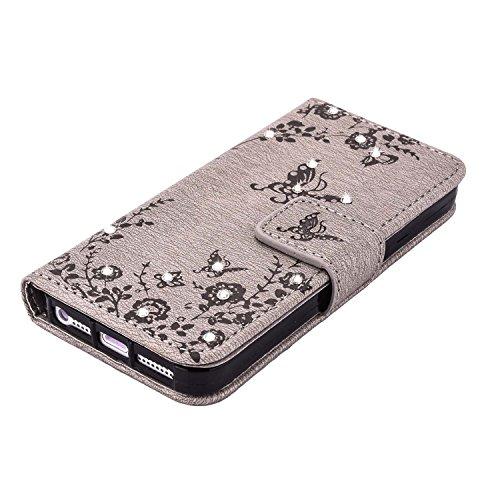 MOONCASE IPhone 5 / 5S / iPhone SE Hülle, Premium Leder Schutzhülle [Blumen Schmetterling Serie] PU Leder Flip Handyhülle Tasche Case für iPhone 5G / 5S / SE HotRosa Grau