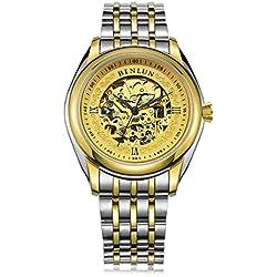 binlun Herren Armbanduhr Japan Bewegung Automatik 2Ton 18K Gold-Plating ausgesetzt Gear Edelstahl Armbanduhr
