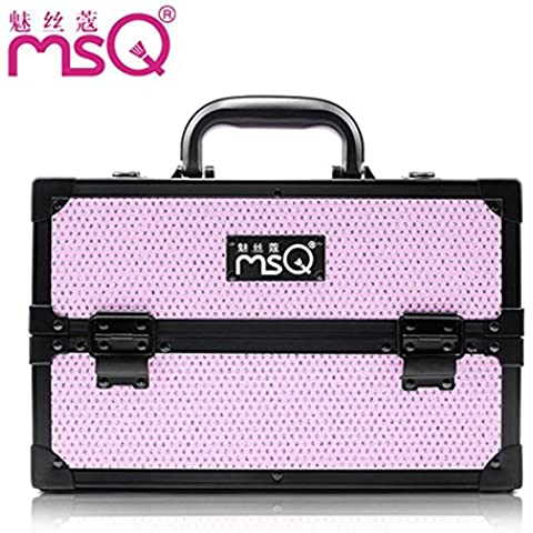 Meydlee trucco treno casi elegante rosa diamante multistrato Alumi Portable Media caso cosmetico Organizzatore cosmetici regolabile Display Box con 4 vassoi estensibile e 2