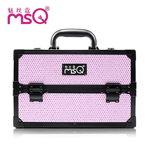 Meydlee Makeup Train Cases Stylish Pink Multilayer Diamond Cosmetic Case Medium Portable Alumi Adjustable Cosmetic Organizer Box Display With 4 Extendable Trays And 2 Locks