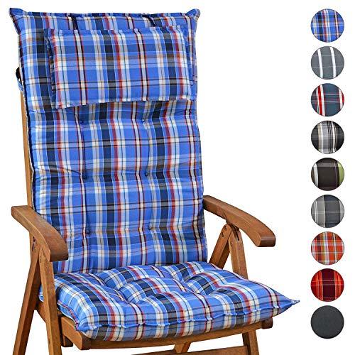 Homeoutfit24 Sun Garden Gartenstuhl-Auflage (120 x 50 x 9 cm) Sylt, Hochlehner Auflage mit abnehmbarem Kopfpolster in Blau/Weiß 2er Set