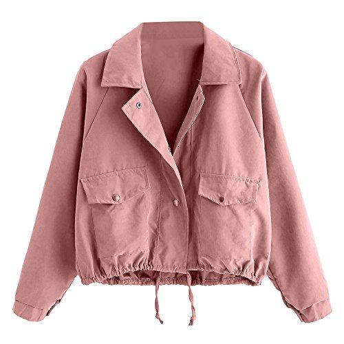 FRAUIT Mantel Damen Herbst Winter Frauen Strickjacke Mode Kurze rosa Knopf Mantel Pocket Jacke Sport Freizeit Übergroß Reißverschluss Verschluss Jacke Windjacke Kleidung Westen Bluse