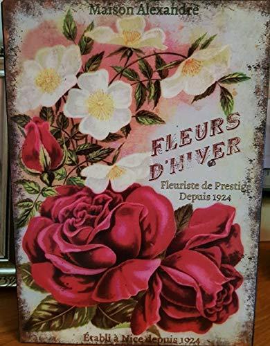 Antic Line Plaque Fleurs d'hiver 21 * 15 cm