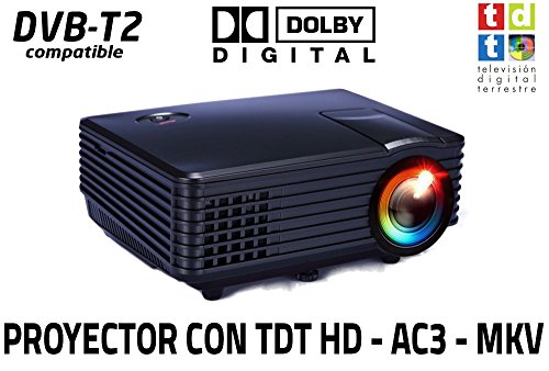 Proyector de Alta definicion FULLHD, Android, WiFi, TV TDT, AC3, LED, Compatible con PS4, Nintendo Switch, Xbox One (Mini con TDT, Negro)