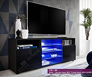 T38-146cm - Cabinet Media Center TV Console Stand Entertainment Furniture Modern Shelf LED