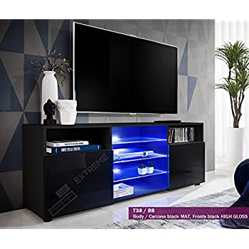 T38 146cm   Cabinet Media Center TV Console Stand Entertainment Furniture  Modern Shelf LED (
