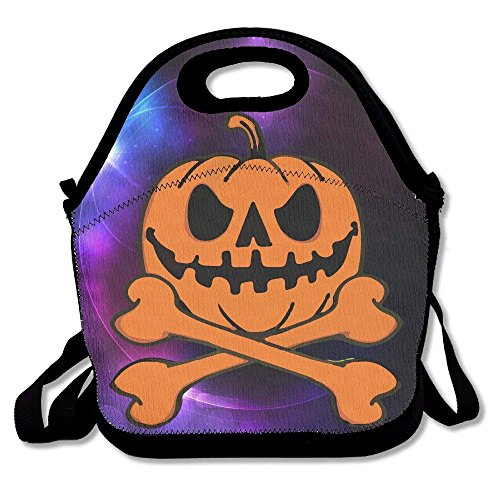 (Girls Boys Food Lunch Tote Halloween Pumpkin Skeleton Picnic School Work Portable Reusable Handbag Bags Boxes Lunchbox Outdoor Totes)