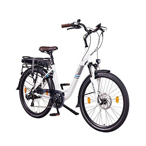NCM Munich 36V, 26' Zoll Elektrofahrrad, Herren & Damen Pedelec, E-Bike City Rad, 250W Bafang Heckmotor, 13Ah 468Wh Lithium-Ionen-Akku, mechanische Scheibenbremsen, weiß