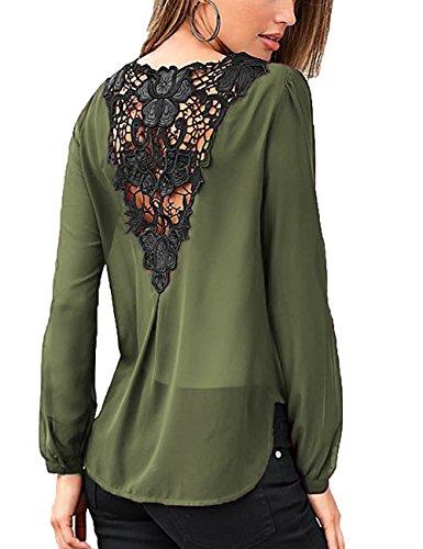 Junshan Damen Bluse Chiffon Rücken-Breite Spitze Nähen Langarm Oberteile Elegante Mode unterschlagen Volltonfarbe Hundert-Lap Tops Bluse (36, Armee Grün) (Armee Grünen Dunkle T-shirt)