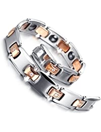 "Mens Tungsten Bracelet, Rose Gold & Silver, 7.9""kb1540"