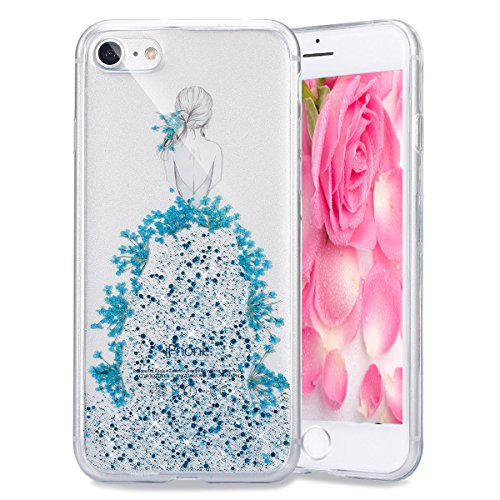 EMAXELERS iPhone 7 Plus Case Transparent Clear Glitzer Crystal Liquid Silikon Hülle,iPhone 7 Plus Hard Hülle,iPhone 7 Plus Hülle Rosa,iPhone 7 Plus Hülle Bling 3D Kreative Plastik Case Etui für iPhone I Girl TPU 3