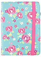 Trendz Patterned Protective Flip Folio Case Cover with Closing Strap for Amazon Kindle 4 - Blue/Pink Floral