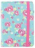 Trendz - Funda con cinta de cierre para Kindle 4, diseño de flores, color azul y rosa