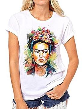 LEDBEE Camiseta para Mujer de Manga Corta Artista Mexicana Frida Kahlo Personalizada