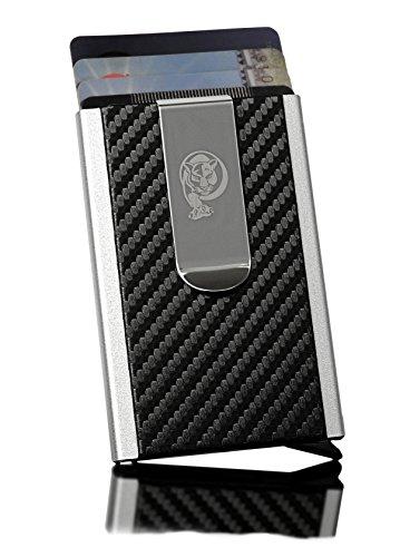 Hochwertiges Kreditkartenetui mit Geldklammer für Herren von VURAGO® / Elegantes und minimalistisches Kartenetui im Carbon Look / Datenschutz mit RFID Blocker / Incl. edler Geschenkbox