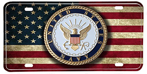 US Navy Emblem Distressed Colors American Flag Aluminum License Plate by Brotherhood® LICENSE PLATES (Us-marine-emblem)