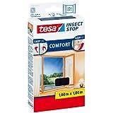 tesa Fliegengitter für Fenster, beste tesa Qualität, anthrazit, durchsichtig, 1m x 1m