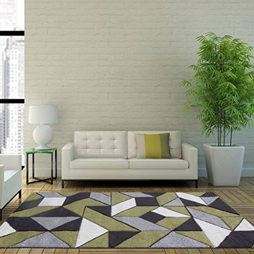Rio Green Grey Geometric Tiles Mosaic Modern Design Living Room Area Rug 120cm x 170cm