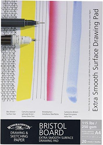 Winsor & Newton 6661542 extra glatter Zeichenblock, 20 Blatt Skizzenblock, kopfgeleimt, 250 g/m², DIN A4 (Airbrush-board)