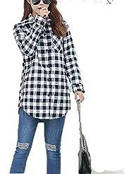 QIANQIAN Las señoras plus tamaño adelgazamiento y grasa gruesa chaqueta de algodón camisa de tela escocesa , big yards xxxxl , navy