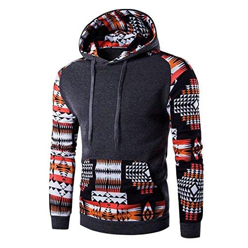 semen Herren Kapuzenpullover mit Tasche Hoodie Bohemia Sweatshirt mit Kapuze Geometrie Printed Schlank Hoody (Känguru-tasche Geldbeutel)