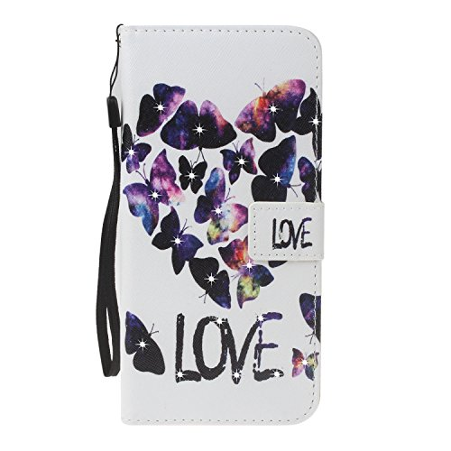 für iPhone 8 (4,7 Zoll) Hülle, Glitter Strass Bling Ledertasche Muster Weich PU Schutzhülle für Apple iPhone 8 (4,7 Zoll) Flip Cover Wallet Case Tasche Handyhülle mit Lanyard Strap Stand Function Magn 6
