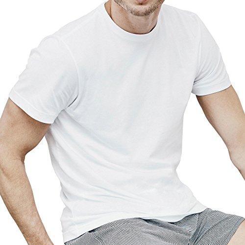 Jockey 120120 Herren Shirt im 2er-Pack mit Rundhals Single-Jersey aus Baumwolle, Groesse XXL, 2x weiß (Socken Weiß Herren Jockey)