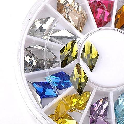 Bluelover 36pcs élégant nail art losange strass autocollant décoration roue