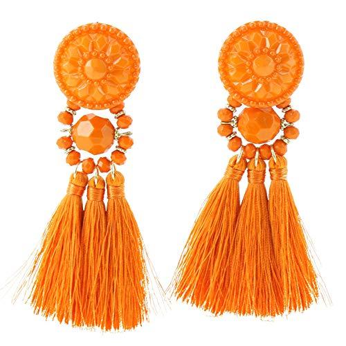 Fashiongen Melina, orecchini lunghi, a frange, da donna e Ottone, colore: Orange, cod. B042-31
