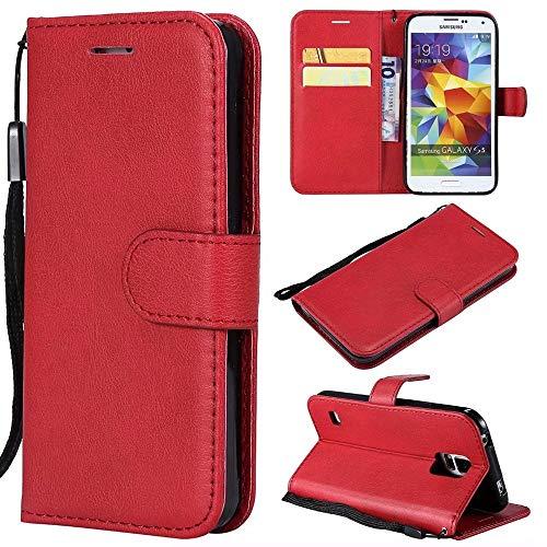Samsung Galaxy s5 case, Leder Folio flip Buch Brieftasche case mit Schlitzen kartenhalter Tasche magnetverschluss stoßfest stoßstange Schutz case für Samsung Galaxy s5 Magnetische Flip-Case-Abdeckung