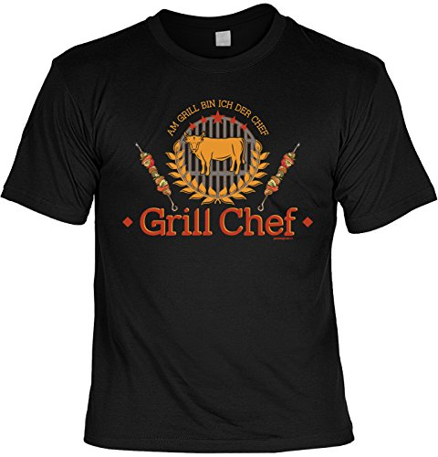 Grill/Spaß-Shirt/Fun-Shirt/Rubrik lustige Sprüche: Grill Chef - geniales Geschenk Schwarz
