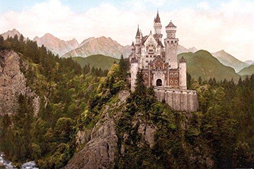1art1 85699 Schloß Neuschwanstein - Das Märchenschloss Um 1900 Selbstklebende Fototapete Poster-Tapete 180 x 120 cm (Poster Schloss Neuschwanstein)