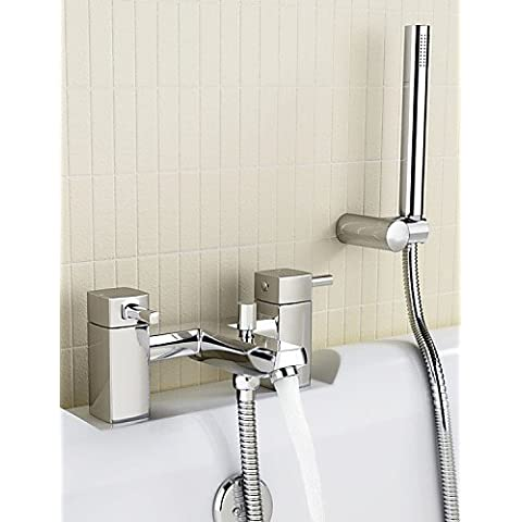 kissrain® baño grifo mezclador de ducha con alcachofa, soporte para manguera–cromo