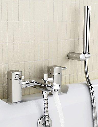 KISSRAIN® Grifo mezclador de la ducha del baño con el microteléfono, manguera del sostenedor -
