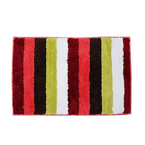 Red Stripe Teppich (Stufenmatten Teppiche Badvorleger Fußmatten Mikrofaser Wohnzimmer Schlafzimmer Badezimmer Anti-Rutsch-Matte Teppich ZHAOYONGLI (Farbe : Red Stripes, größe : 39 * 59cm))