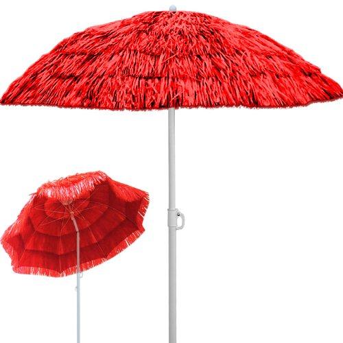 Deuba Sonnenschirm Hawaii • Ø 160 cm • Neigefunktion • Höhenverstellbar • stabile Verstrebungen • Rot - Gartenschirm...