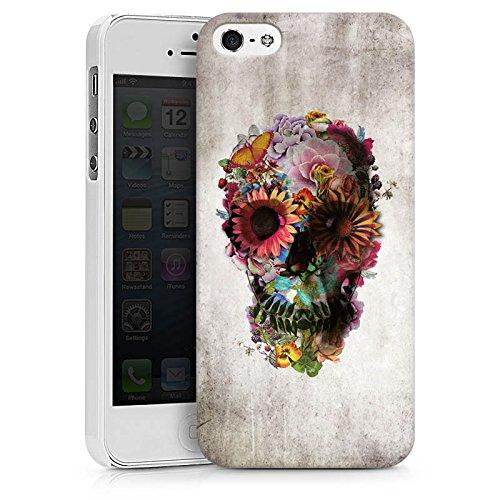 Apple iPhone X Silikon Hülle Case Schutzhülle Totenkopf Skull Blumen Hard Case weiß