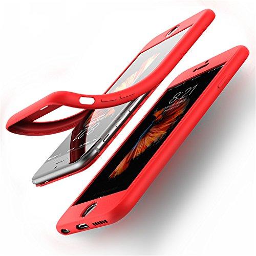 Cover iPhone 6/6s 360 Gradi Morbido Full Body Ultra Sottile TPU Antiscivolo Protettiva Custodia Case DECHYI (4.7 - Bianco+Rosa) Rosso