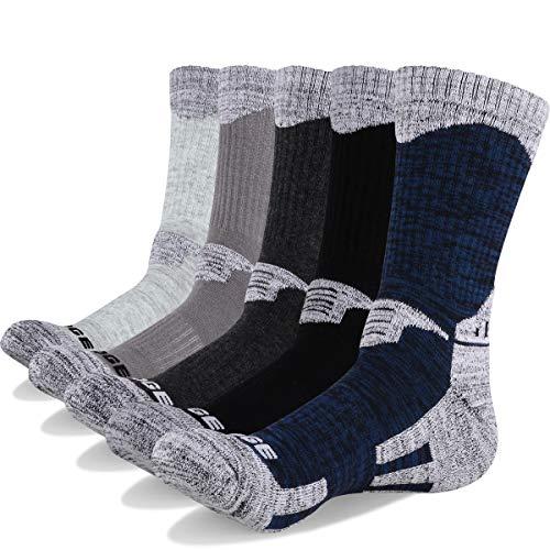 Baumwolle Socken Wandern (YUEDGE 5 Paar Herren Wandern Sport socken für Trekking Camping Radfahren Tennis, Atmungsaktiv, Anti-Slip, High Performance (XL))